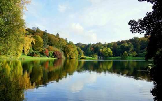 stourhead, осень, озеро, elevation, ук, wiltshire, фотообои, день, gardens, trees,