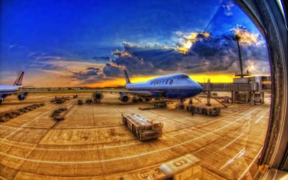 hdr, airport, самолёт