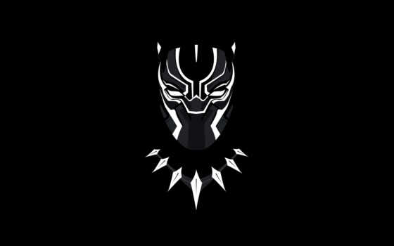 black, panther, marvel, minimal, фон, art,