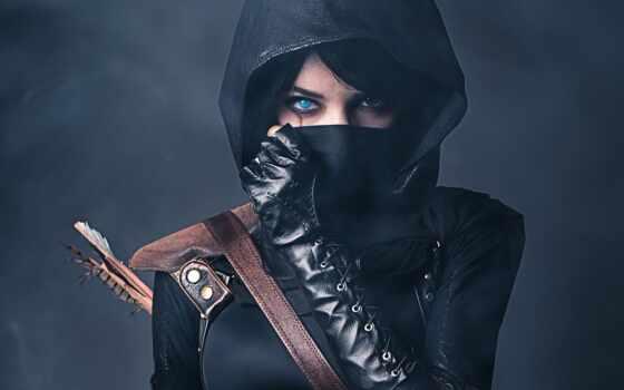 капюшон, маска, девушка, взгляд, шрам, перчатка, вор, стрелок, техника, belt