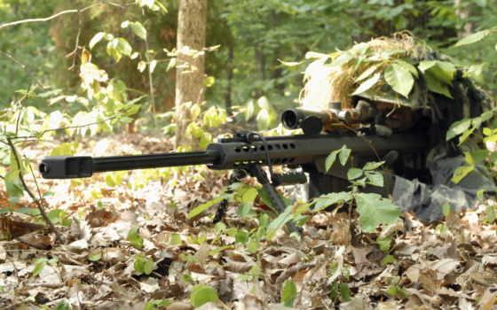 снайпер, винтовка, лес, засада, barrett, маскировка