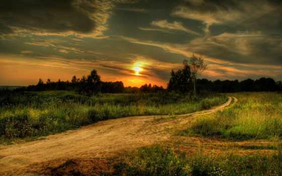 закат, поле, дорога