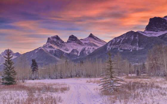 горы, снег, дорога, winter, облачно, лес,