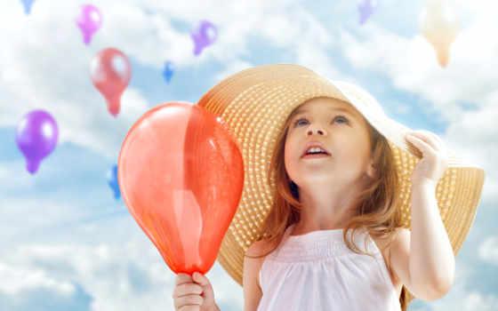 девушка, воздушными, маленькая, шарами, клипарт, велосипеде, fone, неба, симпатичная, ребенок,