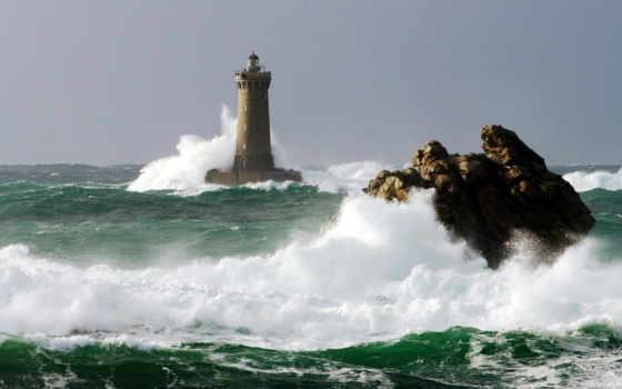 plane, waves, lighthouse, море, скалы, переднем, rock, бьются, заднем, крупные, свет,