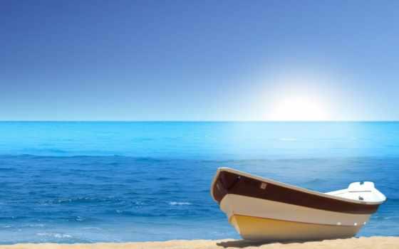 лодка, пляж, ocean