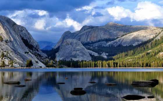 озеро, горы, park, national, небо, красивые, yosemite, голубое, trees, coupe, отражение,
