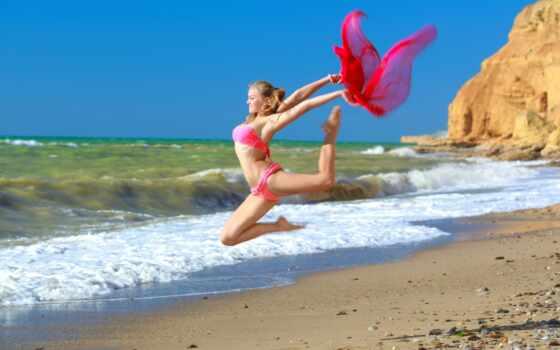 художественная, гимнастика, бикини, гимнастка, алессандра, спорт, море, девушка,