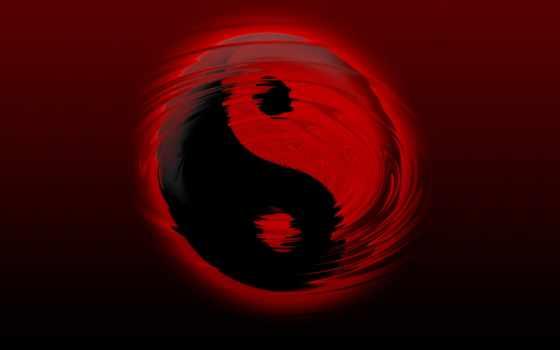 red, black, desktop, yin, yang, янь,