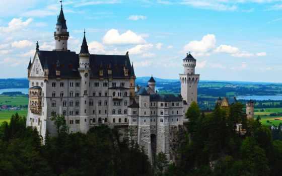 castle, нойшванштайн, нойшванштайн, природа, леса, german,