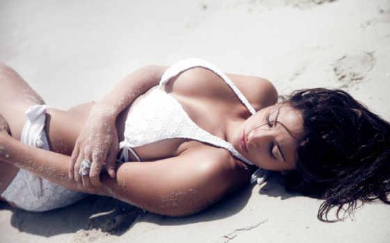 девушка, пляж, песок