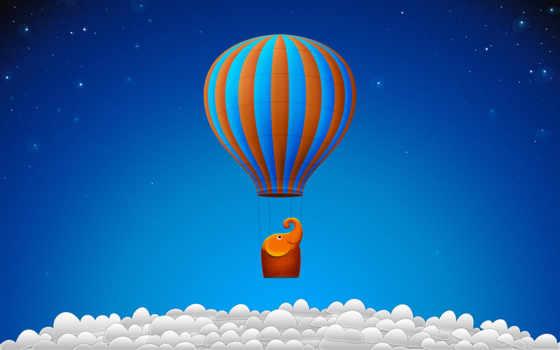aerial, мяч, oblaka, небо, слоник, эмоции, слон, flying, облаках,