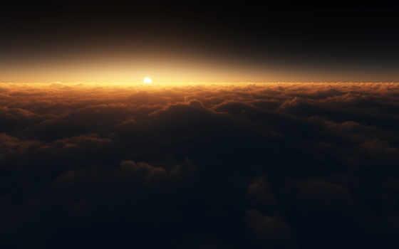 oblaka, sun, со, закат, облаками, небо, фотообои,