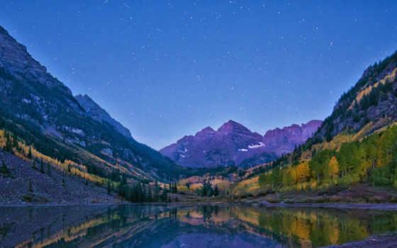 бардовый, склянки, colorado, are, alpenglow, озеро, самый, aspen, mountains,