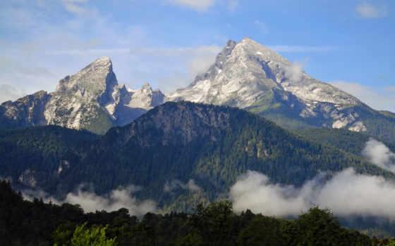 watzmann, der, berg, ruft, alpen, berchtesgadener, widescreen, hocheck, foto, bergmassiv,