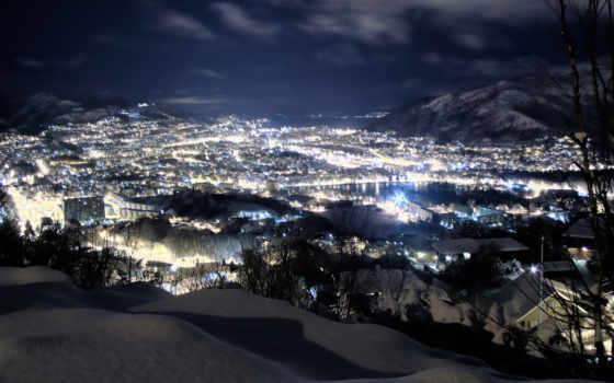 tapety, pulpit, zima, darmowe, góry, światła, noc, najlepsze, miasta,