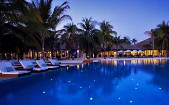 maldives, бассейн, hotel, шезлонги, вечер, природа, пальмы, ocean, velassaru,