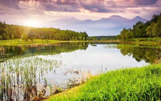 del, agua, paisajes, naturaleza, rboles, fondos, paisaje, pantalla, сол, con,
