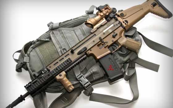 FN SCAR в обвесе и рюкзак