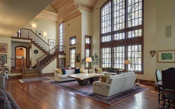 schody, salon, dom