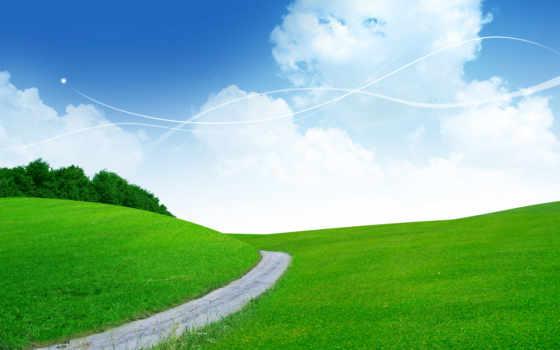 дорога, небо, поле