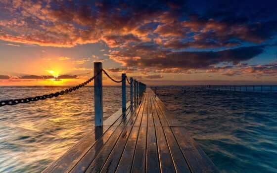 море, ocean, rays, sun, забор, небо, oblaka, дек, цепи, природа,