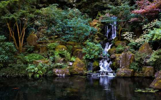 japanese, garden, пруд, водопад, trees, камни,