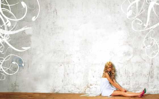 стена, текстура, blonde, девушка, дек, сидит, туфли, дерево, картинка, паркет,