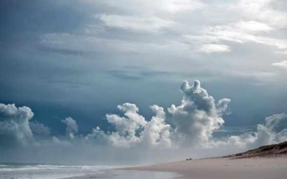 пасмурно, море, небо, oblaka, тучи, берег,