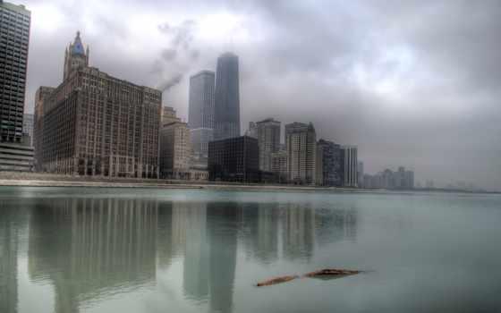 небоскребы, chicago, здания, туман, сша, высотки, michigan, американский, озеро, usa,