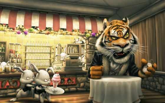 тигр, angry, cartoon, фон, animate, бенгальский, фото, картинка, movie, птица