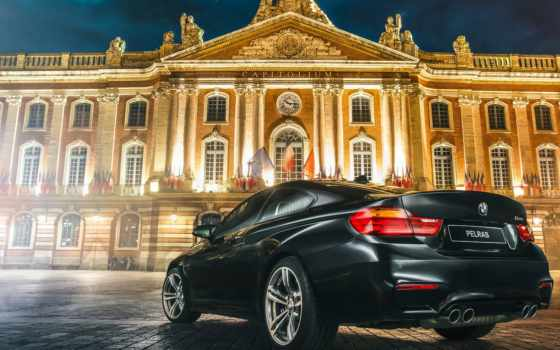 bmw, bmw 4-series, bmw m4, город, небоскреб, дорога, · bmw, m4, automobile, capitole, car, commercial, light, painting