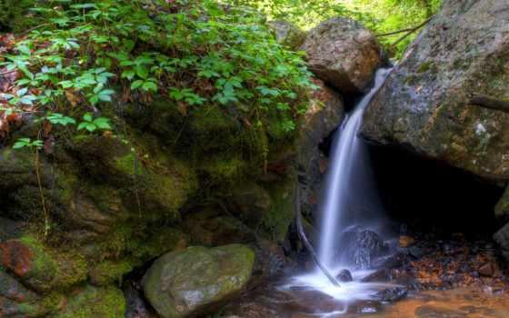 природа, камни, водопад
