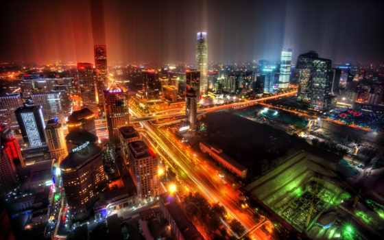 китаянка, beijing, город, широкоформатные, china, красивые, панорама, ночь, часть,