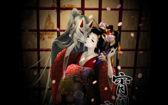 гейша, самурай, anime, art, под, кимоно, обнимаются,