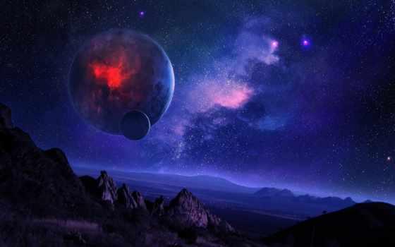 звездное, небо, ночь, planet, спутник, горы, cosmos, nebula, landscape,