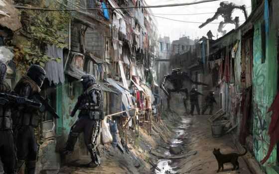 город, scus, art, fantasy, обитатели, robot, фантастика, concept, science, солдат