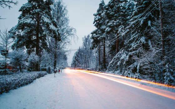 дорога, winter, снег