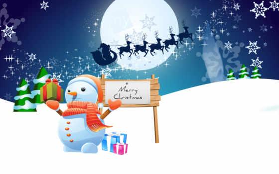 праздник, winter, снеговик