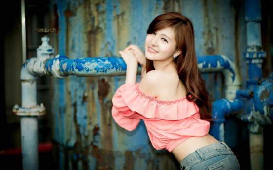 девушка, улыбка, платье, asian, girls, розовый, desktop, sexy,