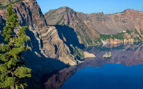 озеро, crater, national, park, oregon, природы, фотографий, usa, корабль,