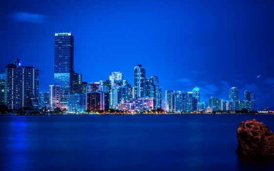 город, ночь, miami, огни, florida, панорама, биг, desktop,