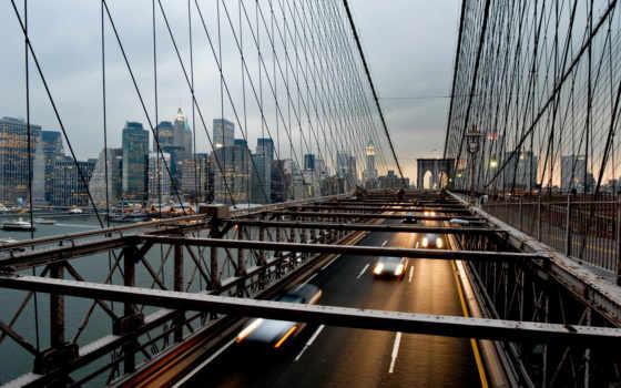 мост, new, бруклин, york, город, нью, сша, фотообои, manhattan,