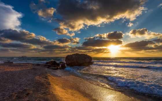 море, canon, waves, бой, песок, sun, oblaka,