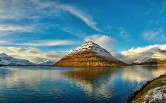 остров, облако, снег, небо, отражение, water, природа, francesco, fanpage, landscape