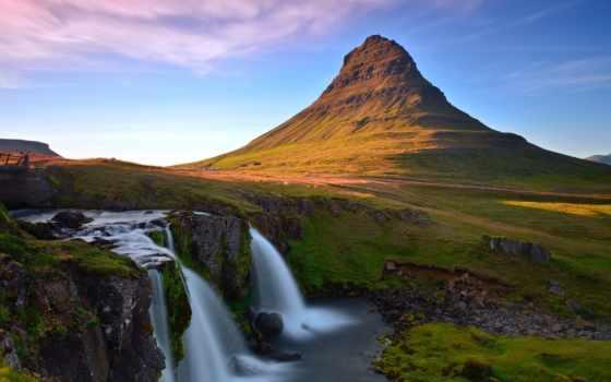 водопад, гора, река, пейзаж, картинка, kirkjufellsfoss, исландия, картинку,
