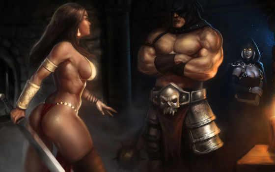 меч, капюшон, девушка