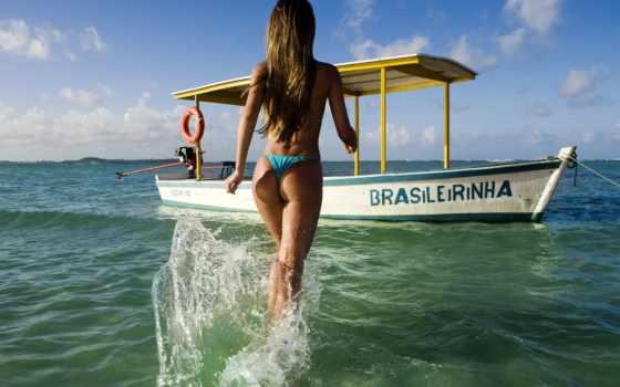 лодка, море, девушка
