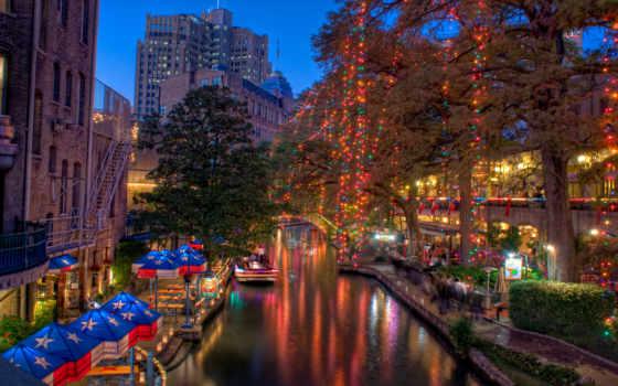 город, texas, города, antonio, сан, everything, вечер, вектор, лодка, янв, кафе,