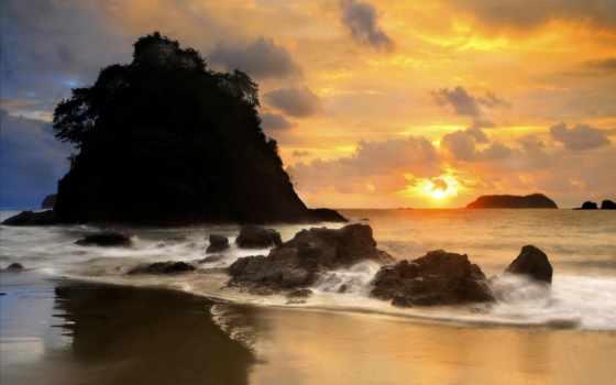 море, скалы, камни, берег, небо, waves, oblaka, закат, water, вечер, пляж,